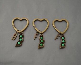 Peas In A Pod Keychains, Peas In a Pod Jewlery,Initial , Best Friend Gift, 3 Best Friend , Friendship keychain for 2, Set of 2, BFF Keychain