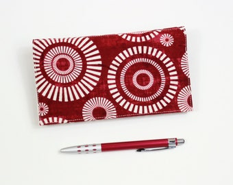 Red Checkbook Cover, Red Duplicate Checkbook, Red and White Check Book with Pen Holder, Cotton Cheque Book Cover, Red White Circles