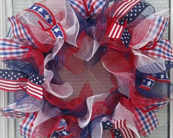 4th of July Wreath, Patriotic Wreath, Memorial Day Wreath, Labor Day Wreath, Independence Wreath, Deco Mesh Wreath, Patriotic Ribbon