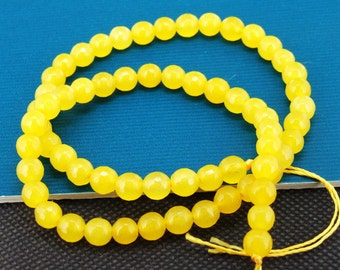 Loose Gemstone faceted yellow  jade gemstone 6mm bead full one strand 15""
