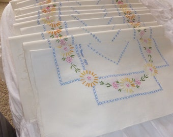 "Vtg 12 Piece Set Embroidered Cotton Quilt Blocks Flowers & Cross Stitch 17"" Sq Signed Dated 1959"