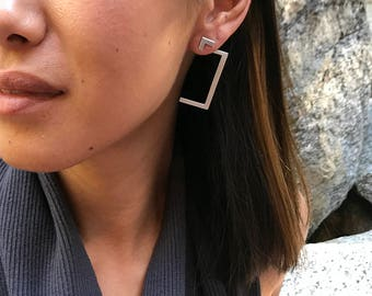 Raw front back earring - double sided/jackets earring/pure silver/geometric/linear/minimalistic/edgy/rectangular frame