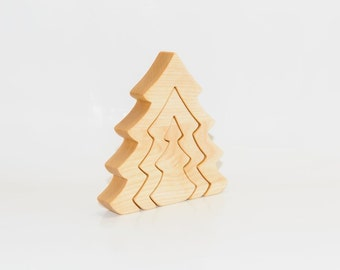 Wooden Puzzle Christmas Trees. Wooden Handmade Toys, Wooden House Puzzle,  Natural Eco Friendly