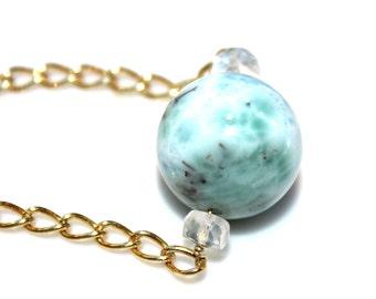 Huge Larimar Necklace Beach Necklace Caribbean Larimar Jewelry Ocean Necklace Beach Jewelry Orb Necklace Everyday Jewelry Volcano Gemstone