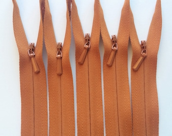 INVISIBLE Zippers- YKK Color 102 Rust Orange- 5 Pieces- Currently available in 9,14,18,20,22 and 24 Inch