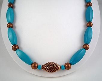 Turquoise Necklace Gemstone Necklace Turquoise Copper Necklace Copper Turquoise Necklace Blue Turquoise Strand Turquoise Bead Necklace