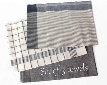 Linen Dish Towels | White Grey Striped Linen Tea Towels set of 3 | Organic Linen Cotton Kitchen Dish Towels Plaid | Modern Kitchen Textiles
