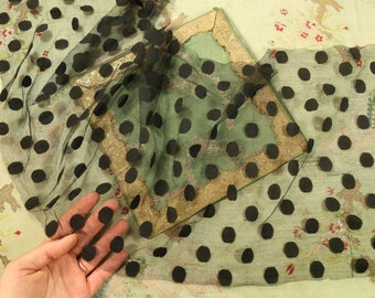 37x11 rare Antique silk tulle dot lace black trim lovely airy tulle point d'esprit millinery French dolls dress france