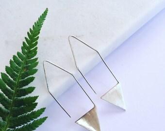 Drop Triangle Earrings - Sterling Silver - Handmade