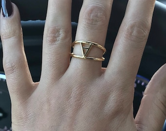 18K Yellow Gold Initial Ring - A