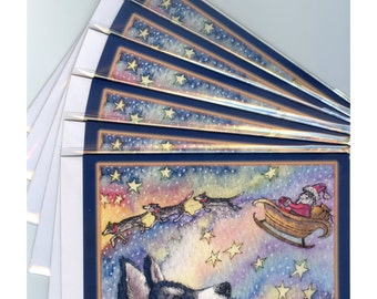 6 x Siberian husky dog Christmas holiday cards Xmas season's greetings sibes sled dogs Santa's sleigh from Susan Alison watercolor painting