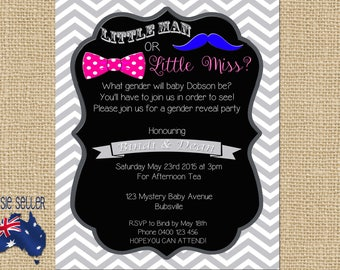 Printable Gender Reveal Invitation Little Man or Little Miss?