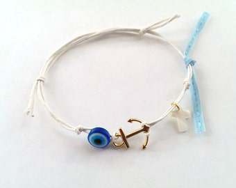 White bracelet with mother of pearl cross and evil eye, baptism, gift, 25 pcs