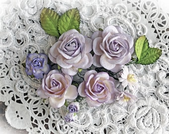 Reneabouquets Roses And Leaves Flower Set-Mulberry Paper Flowers - Purple And White Set Of 13 Pieces In Organza Storage Bag