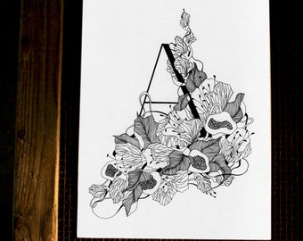 Letter A -original hand drawing, black&white,  PERFECT GIFT! can be custom order