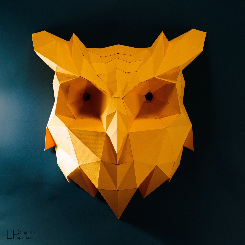 Owl head owl paper animal head owl lowpoly owl mask zoom jeuxipadfo Image collections