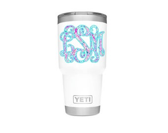 Lilly Pulitzer Inspired Two Layer Color Vinyl Monogram Decal | Lily Pulitzer Monogram Decal | Yeti Stickers | Yeti Cup Decal