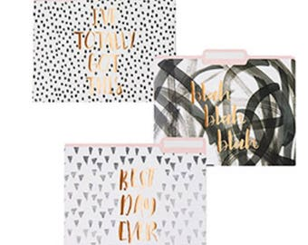 Chic File Folders, Modern Office, Desk Accessories, Back to School, Organization for Her, Pink, Gold, Black File Folders, Set of 6