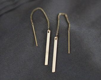 Ear Threaders, Gold Ear Threader Earrings, Chain Earrings, Gold Bar Earrings, Pendulum Earrings, Minimalist Earrings