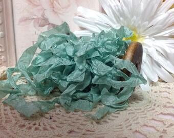 Teal Seam Binding Ribbon, Ribbons, Aqua Marine Trim, Embellishmets, Five Yards, Bridal Ribbon, Scrunched, hand crinckled, Wrinkled Ribbon