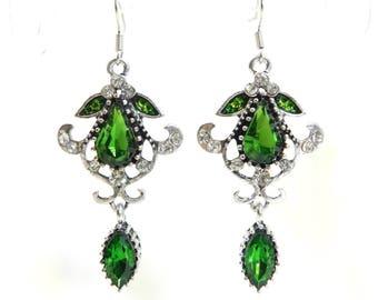 "Earrings creator ""Green"" frame 925 Silver hook, unique, handmade, swarovski crystal rhinestones"