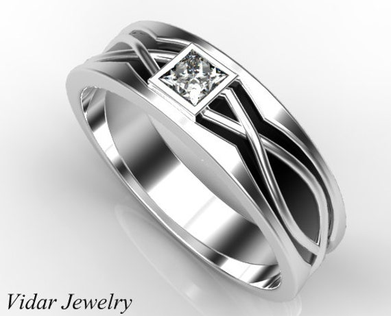 Mens Wedding Band Princess Cut Diamond Wedding Ring For