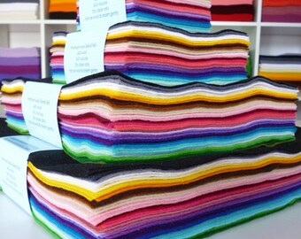 Rainbow felt stack - 45 colours of wool blend felt