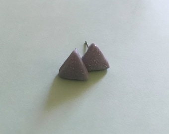 Silver studs, triangle studs, triangle earrings, grey earrings, glitter earrings, clay earrings, quirky earrings, minimalist earrings