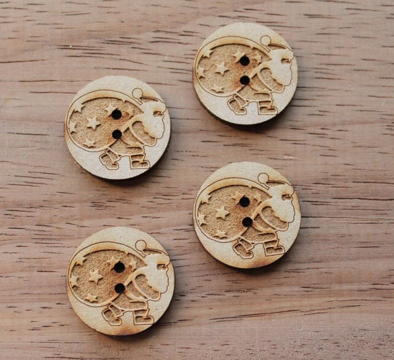 8 pieces.Santa.Round Buttons, 2.5cm Buttons -Acrylic and Wood Laser Cut-Jewellery Supplies-Little Laser Lab Wood and Acrylic Products