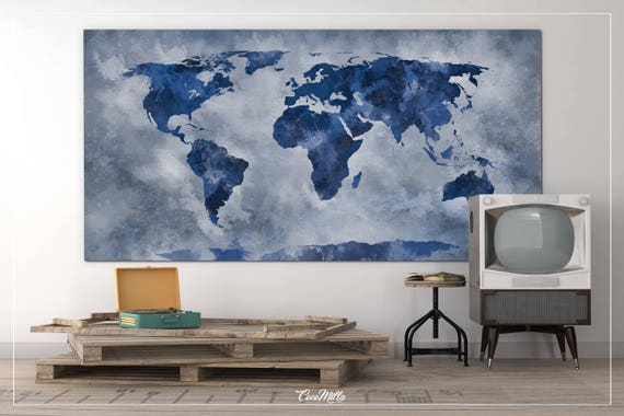 World map extra large canvas print large rustic blue world world map extra large canvas print large rustic blue world travels map wall art wall decor canvas art wall hanging wanderlust decor 852 gumiabroncs Images