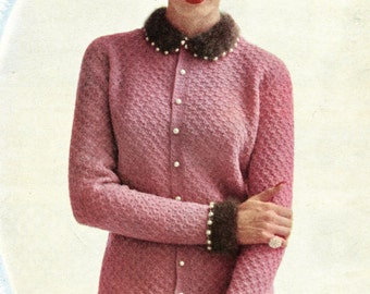 1950's Mid Century Cardigan Sweater with Angora Trim Knitting PDF Pattern Instant Download