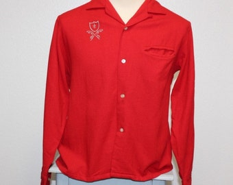 Vintage 1950s red long sleeve button down wool shirt monogram large 371