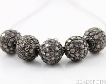 Pave Beads, Pave Diamond Beads, Pave Round Beads, Pave Findings, Metal Beads, Jewlery Component, Oxidized Silver. (DF/BA)
