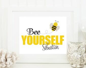 Bumble Bee Nursery Art - Bumble Bee Baby Art - Personalized Nursery Decor - Custom Baby Art - Personal Baby Gift - Bumble Bee Wall Art Print