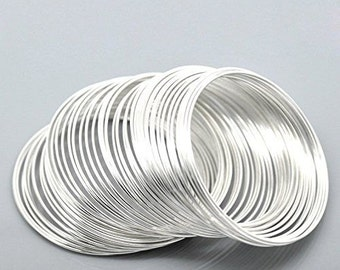 55mm SilverPlated Memory Wire for Bracelet Making - 100 Loops