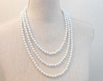 Multi strand white glass beads, unique for wedding, Bridesmaid Gifts, Mother of the Bride, Bridal, Birthday, Party, Mum jewelry