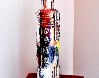 Hand Painted Liquor Bottles...Textured Acrylic Abstract Painting On Bottles...Unique Painting On Glass Bottles...Free Style Abstract Art