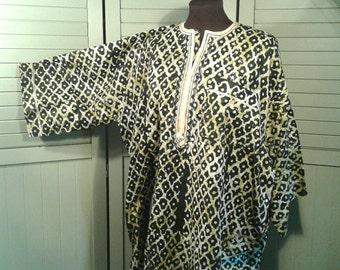 Batik Dashiki Vintage New Authentic African Tribal Cotton Pullover Tunic One Size Unisex Clothing Men's Women's Large Extra Large