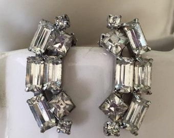 Baguette Rhinestone Clip on Earrings,  Mid Century Estate Jewelry, Bridal  or Prom Jewelry,  Little Black Dress Earrings, Vintage Accessory