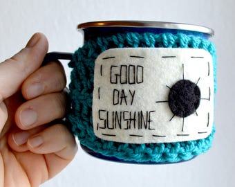 Personalized gift/ Mug Cozy / Stockinf filler/ Custom Crochet Mug Warmer / Coffee Cozy Sleeve / Handmade/Wool and felt/ Crochet/ Custom gift