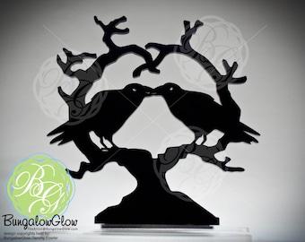 Kissing Raven Heart Crow Cake Topper, 'Nevermore' Wedding Keepsake Topper, Dark Night Blackbirds Gothic Couple *Original Design*