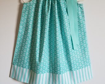 Pillowcase Dress with Anchors Nautical Dress Summer Dresses Anchors Dress Aqua and White Beach Party Outfit Baby Dresses Toddler Dresses