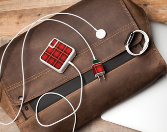 iPhone and Apple Laptop Charger Sticker - Plaid Pattern - Great tech accessory gift for the plaid-lover and Mac User, Gift for him
