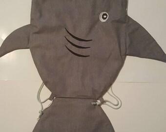 Super Cute Shark  Drawstring  Bag