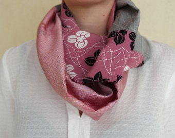 Ash gray road. Snood in patchwork of Japanese silks old do-it-yourself!