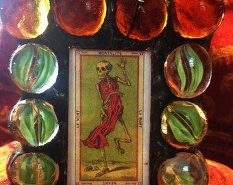 TAROT - Death - Gothic Stained Glass   Small Votive Candle Holder