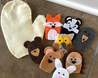 Finger Puppet | Felt |  Stuffed The Mitten Story Inspired | Felt Story | Pretend Play