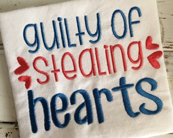 Guilty of Stealing Hearts Valentine's Day Heart Embroidery Design 5x7 6x10 8x8 8x12