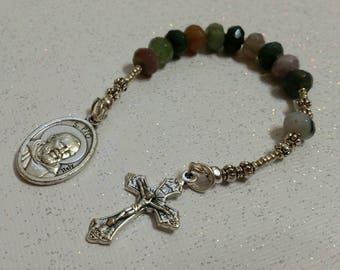 Jasper Beaded St Pio Single Decade Rosary