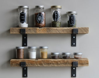 Reclaimed Wood Accent Shelves | Amish Handcrafted in Lancaster County, PA | Set of 2 | Industrial, Rustic, Genuine Barn Wood with Brackets